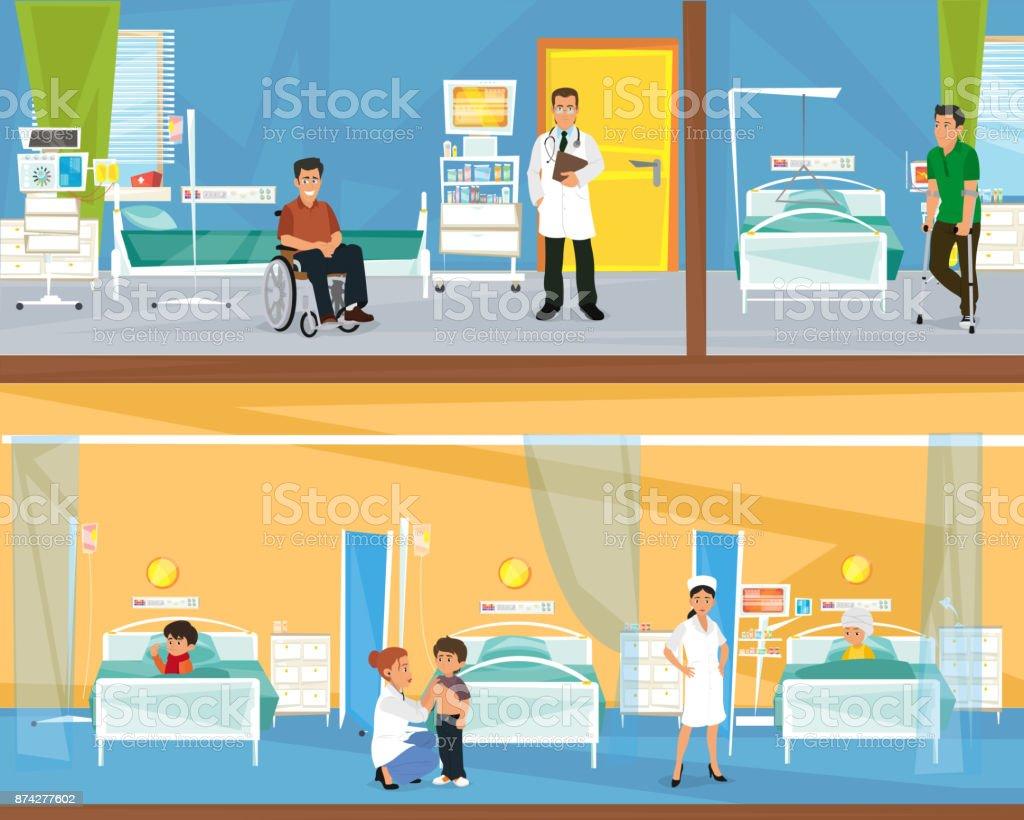 two floors of the hospital. vector art illustration
