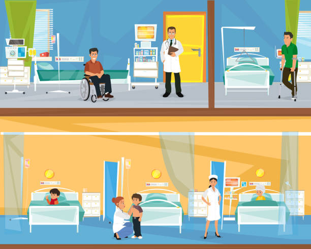 two floors of the hospital. - doctors office stock illustrations, clip art, cartoons, & icons