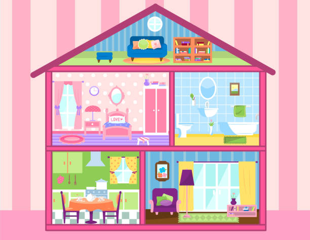 Two floors storey Dolhouse with cute attic Two floors storey Doll-house with cute attic, doll house living room, bathroom, eating room and bedroom vector illustration. All furnished and beautifully decorated. dollhouse stock illustrations