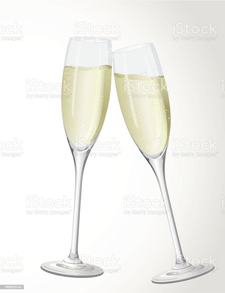 Two flutes of champagne clinking in cheers vector art illustration