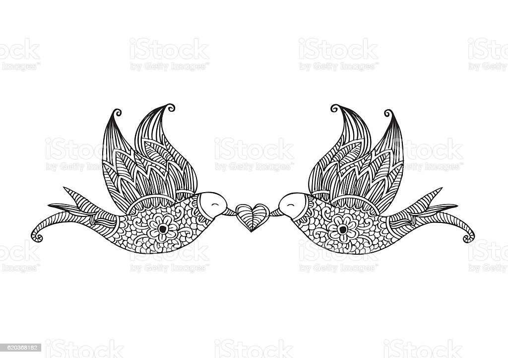 Two flying birds. Decorative style. two flying birds decorative style - stockowe grafiki wektorowe i więcej obrazów bazgroły - rysunek royalty-free