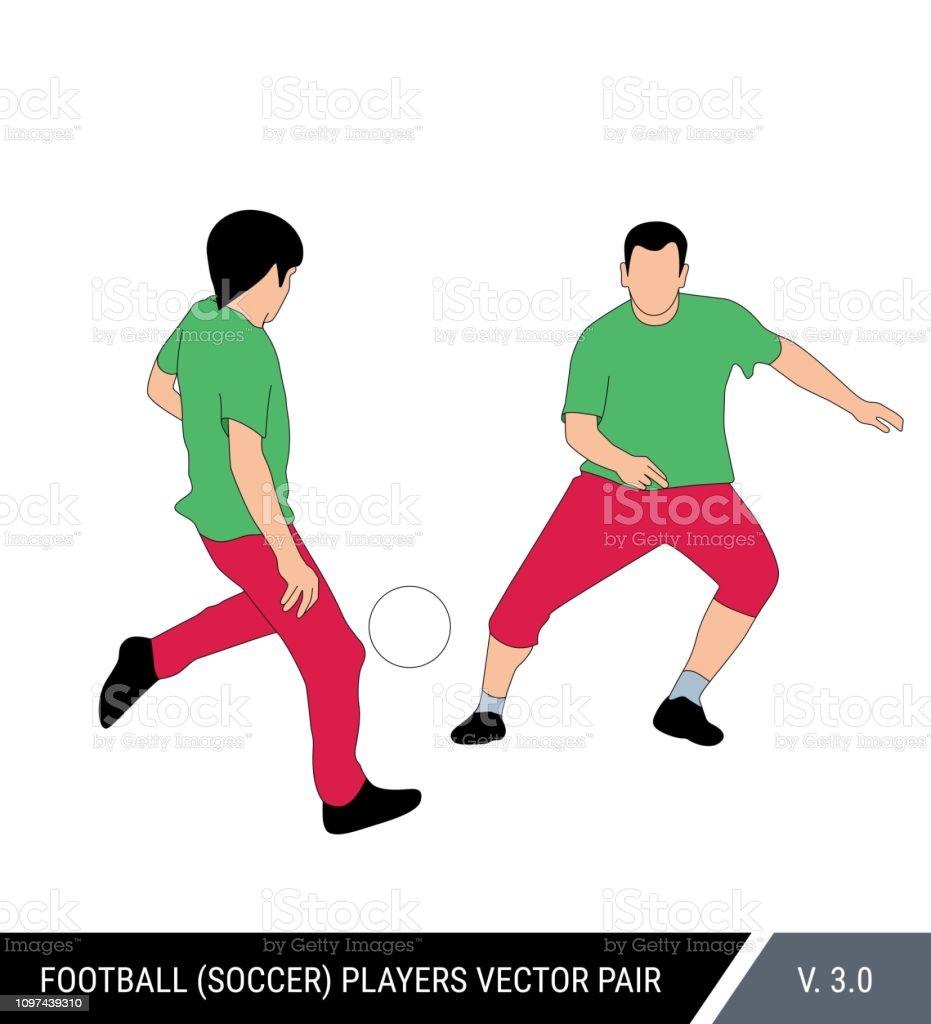 Dois jogadores de futebol corre com a bola. Dois jogadores de futebol da um equipe correm juntos. Um jogador passa a bola para o outro. Ilustração do vetor de cor. - ilustração de arte em vetor