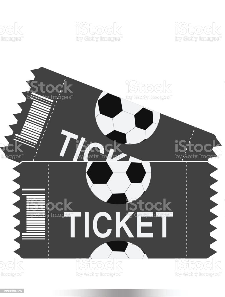 Zwei Fussballticketssymbol Auf Weissem Hintergrund Zwei