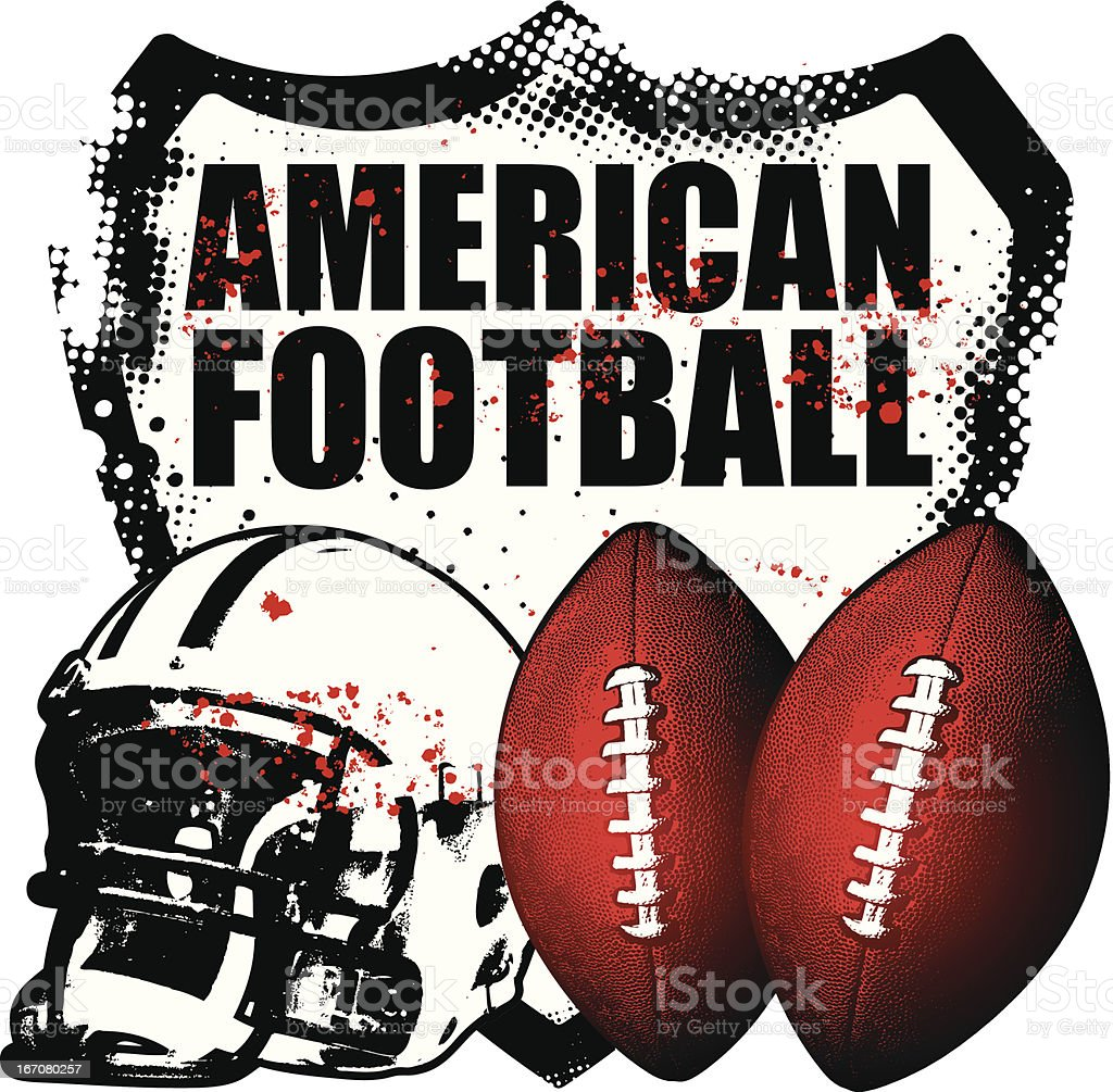 Two footballs next to helmet and American Football shield royalty-free stock vector art