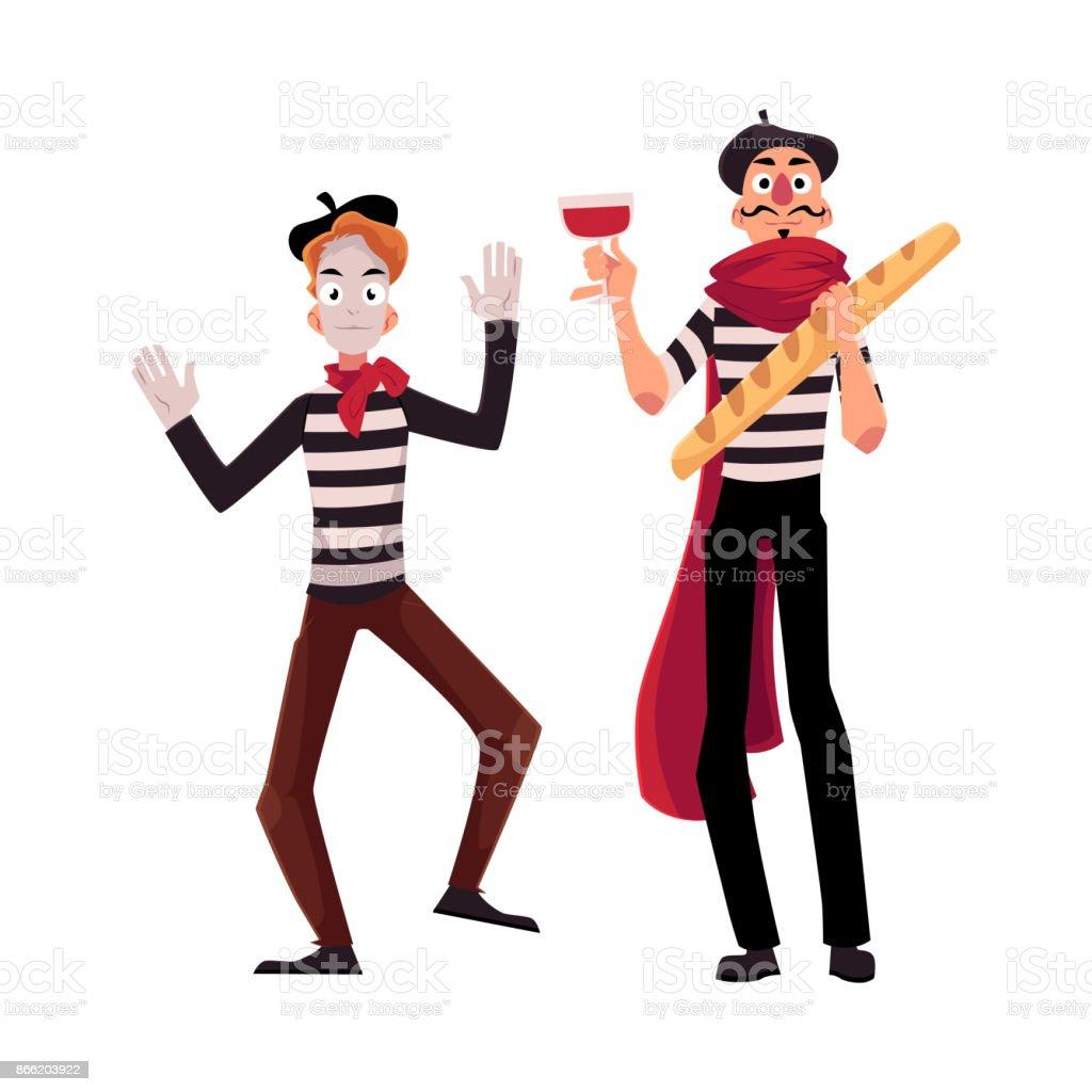 Deux mimes Français en costumes traditionnels, le vin et baguette - Illustration vectorielle