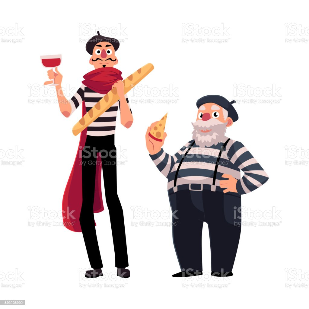 Two French Mimes Young And Old With Symbols Of France Stock Vector