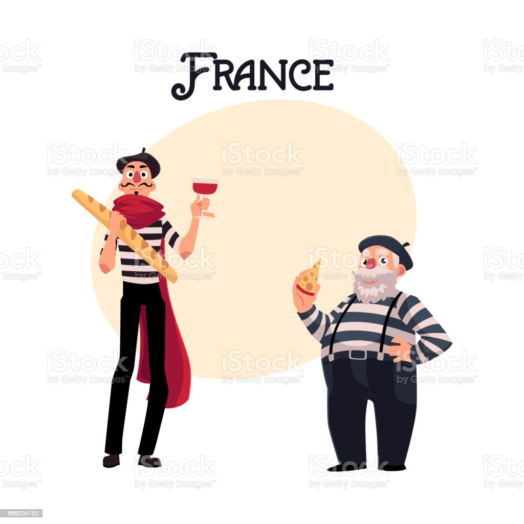 Two french mimes young and old with symbols of france stock vector two french mimes young and old with symbols of france royalty free two french biocorpaavc
