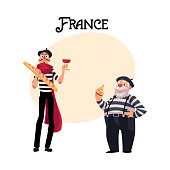 Two French mimes, young and old, in traditional costumes with symbols of France - cheese, wine baguette, cartoon vector illustrationwith place for text.