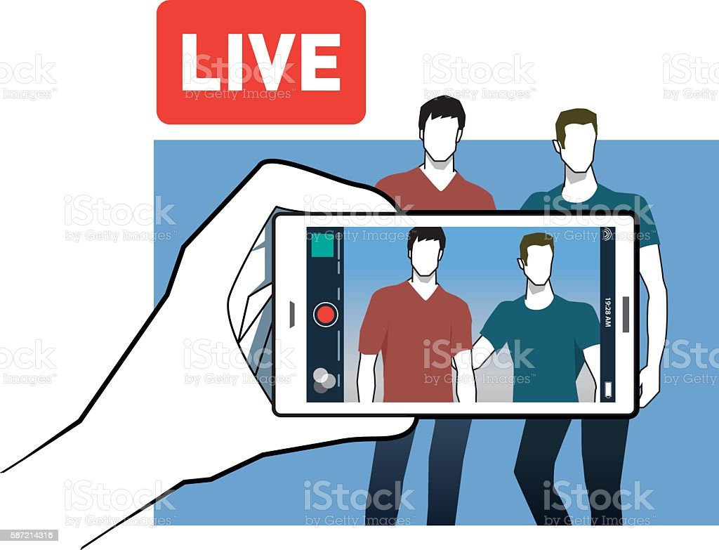 Two frends broadcasting with the phone app vector art illustration
