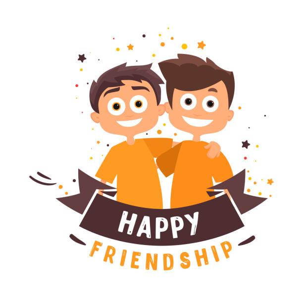 ilustraciones, imágenes clip art, dibujos animados e iconos de stock de dos amigos están abrazando. gente feliz. vector de amistad feliz día - hermano