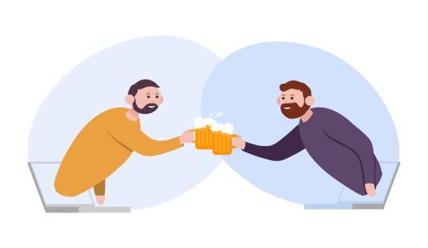 illustrazioni stock, clip art, cartoni animati e icone di tendenza di two friends clinking glass beer. concept stay home for coronavirus epidemic quarantine. - hand on glass covid