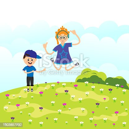 istock Two friends dancing on the wildflowers 1303857732
