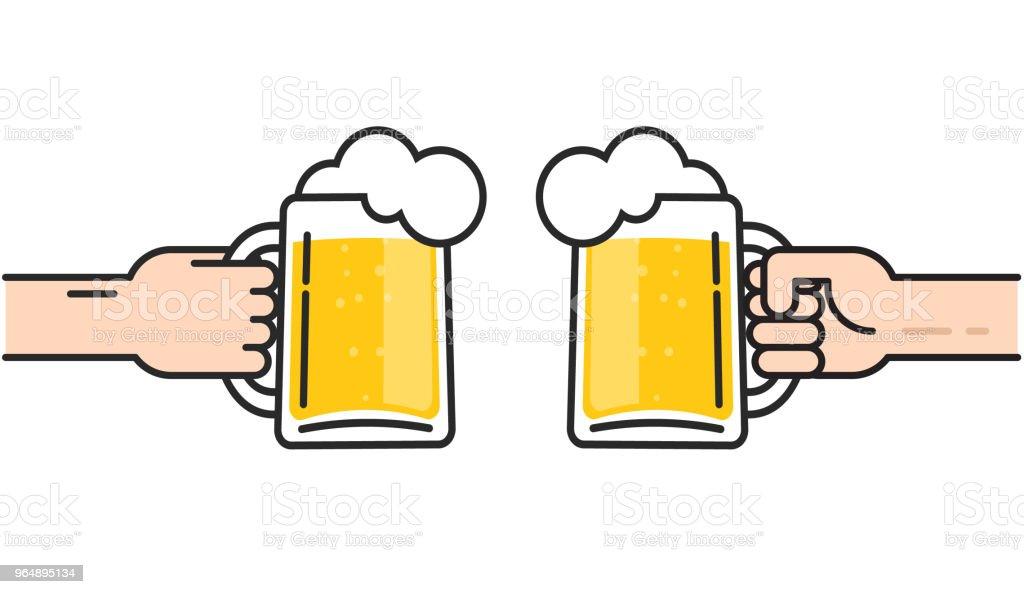 ilustração de dois amigos segurando copos de cerveja com espuma de