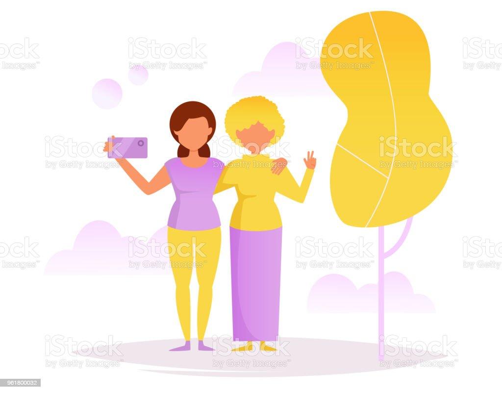Two friends. Selfie in the Park vector art illustration