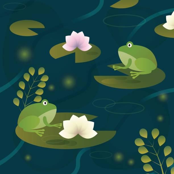 zwei frösche in einem teich auf eine lilie blatt sitzen. vektor-illustration - seerosenteich stock-grafiken, -clipart, -cartoons und -symbole