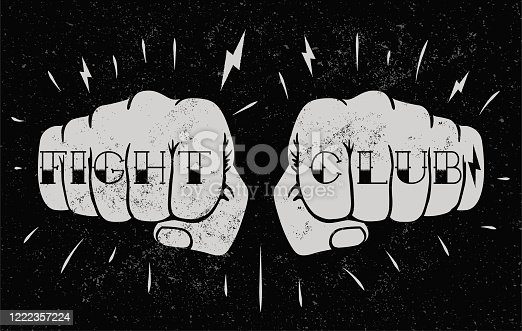 Two front view fists with fight club caption tattoo on fingers. Fighting club concept illustration for poster design or t-shirt design. Vintage styled vector illustration