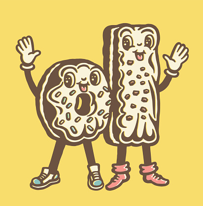 Two Frosted Donuts with Sprinkles