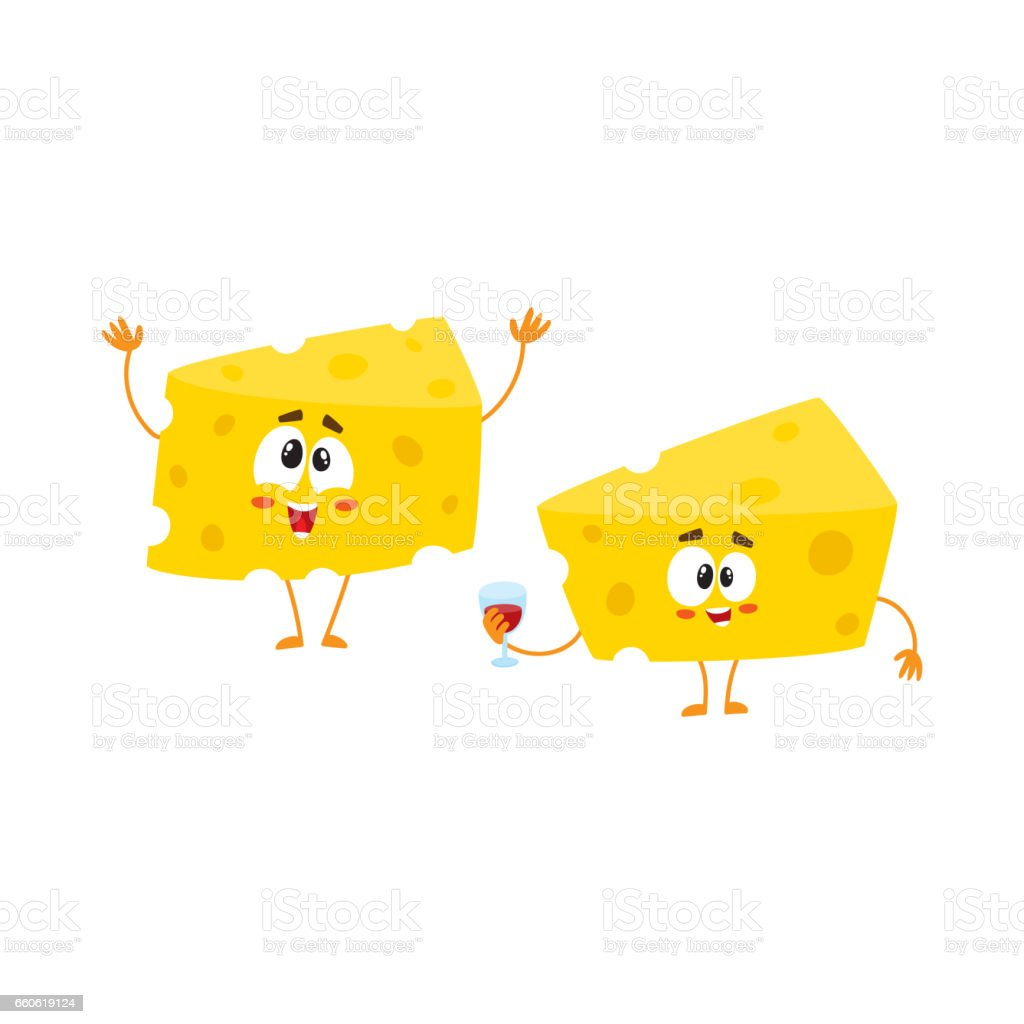 Two funny cheese chunk characters holding wine glass, celebration concept vector art illustration