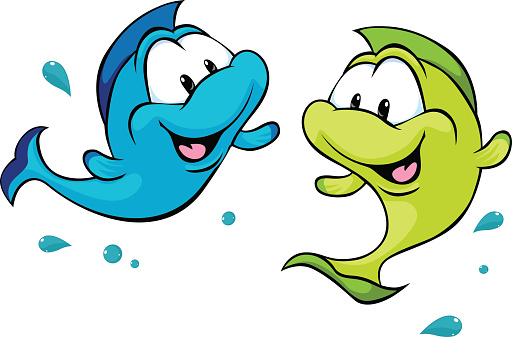 two funny fish isolated on white background - vector