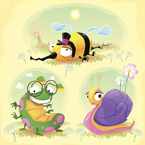 stockillustraties, clipart, cartoons en iconen met two funny insects and one snail. with background. - bargerecht
