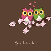 Two funny, love the owl sitting on a flowering branch