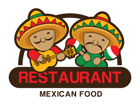 Two funny red and green Mexicans playing guitar and maracas, restaurant sign board