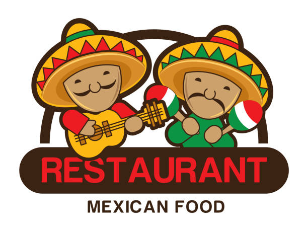 Two funny red and green Mexicans playing guitar and maracas, restaurant sign board Two funny red and green Mexicans playing guitar and maracas, restaurant sign board mexican restaurant stock illustrations