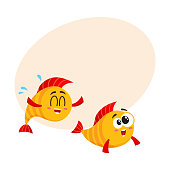 Two funny, smiling, crazy golden fish characters swimming together, cartoon vector illustration with place for text. Yellow fish characters, mascots, friends