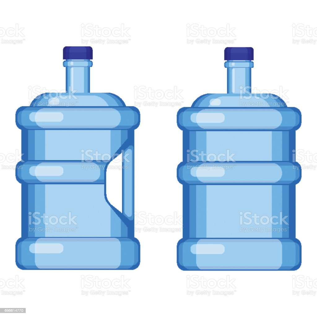 two gallon water bottles with and without handle royaltyfree stock vector art