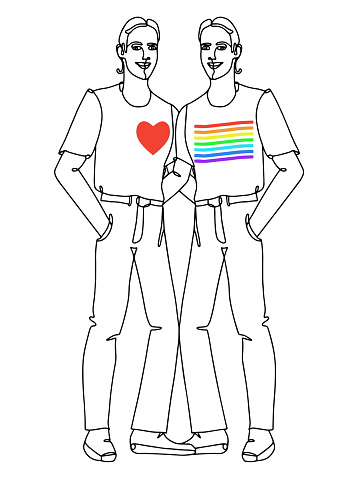 Two gay men couple. One continuous hand drawn line art.