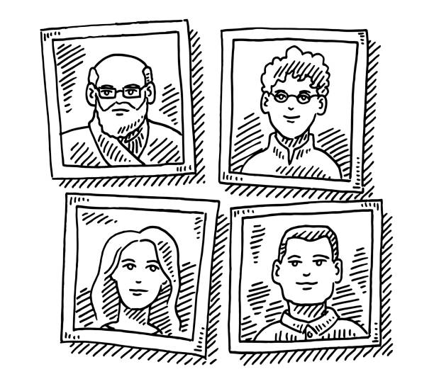Two Generation Family Pictures Drawing Hand-drawn vector drawing of four Pictures of a Two Generation Family. Black-and-White sketch on a transparent background (.eps-file). Included files are EPS (v10) and Hi-Res JPG. women stock illustrations