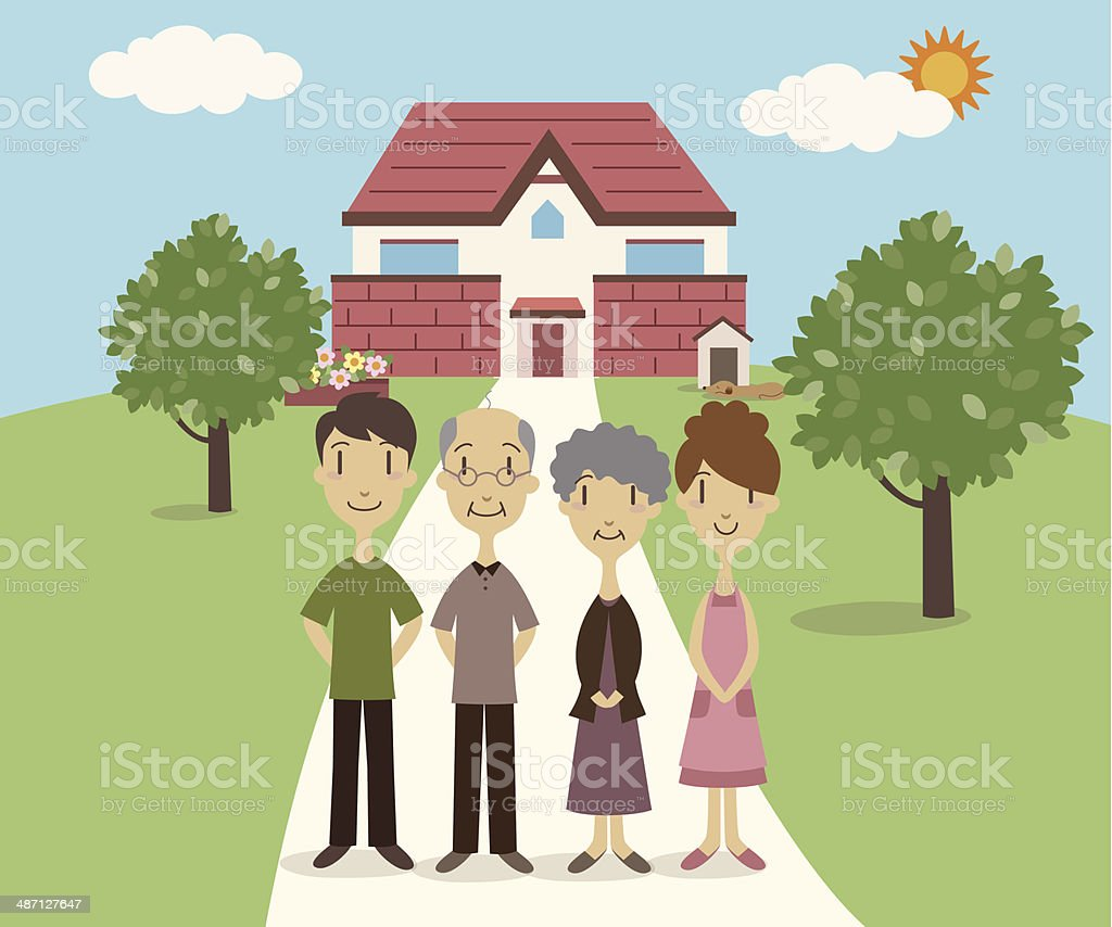 Two generation family vector art illustration