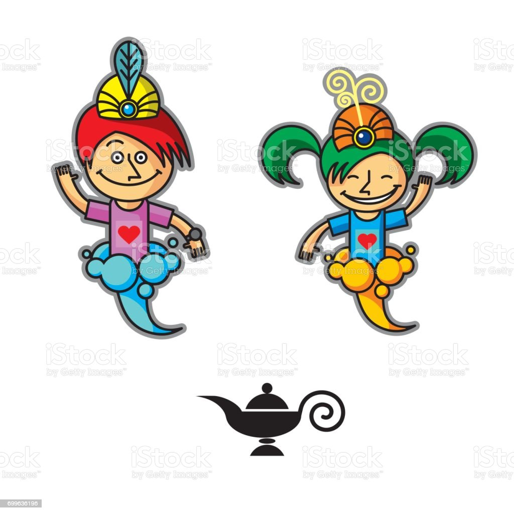 Two Genie Boy And Girl In The Smoke Vector Icon Isolated ... for Genie Icon  303mzq