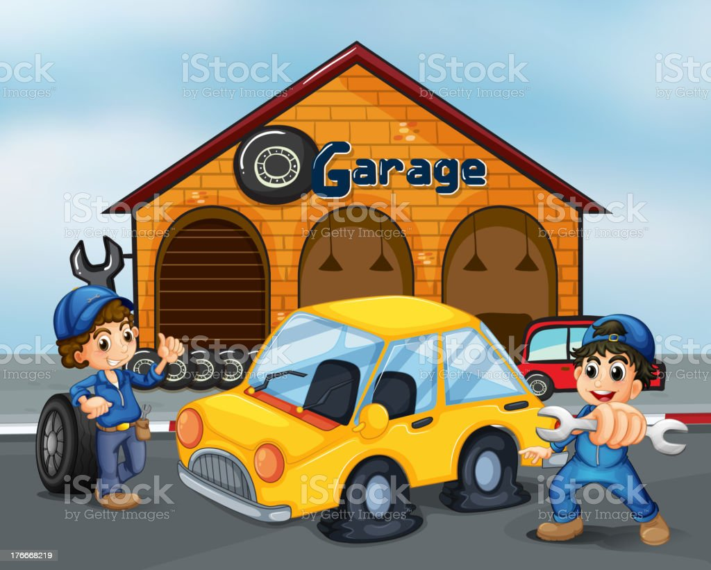 Two gentlemen with tools at the garage royalty-free two gentlemen with tools at the garage stock vector art & more images of adult