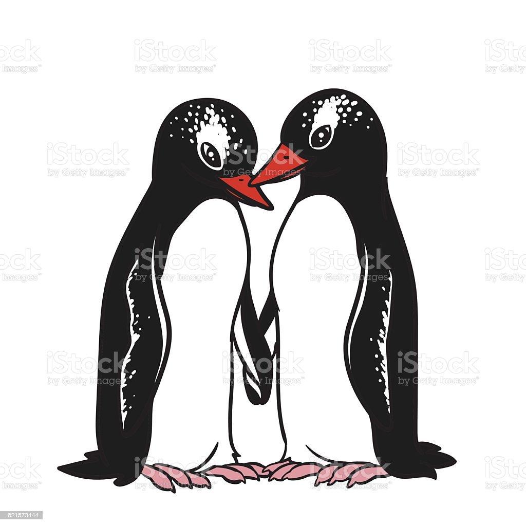 Two Gentoo Penguins Holding Hands. two gentoo penguins holding hands – cliparts vectoriels et plus d'images de aile d'animal libre de droits