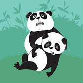 Giant Panda with a dying friend, illustration of endangered animals