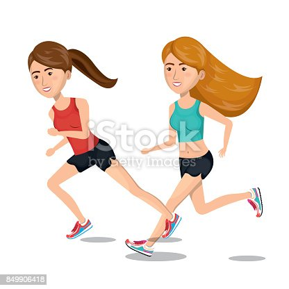 zwei m dchen cartoon laufen jogging symbol grafik stock vektor art und mehr bilder von atem bung. Black Bedroom Furniture Sets. Home Design Ideas