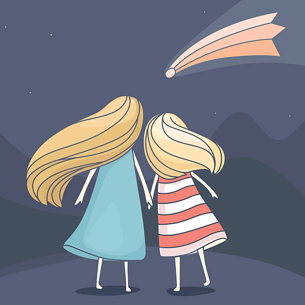 Two girl friends looking at a falling comet vector art illustration