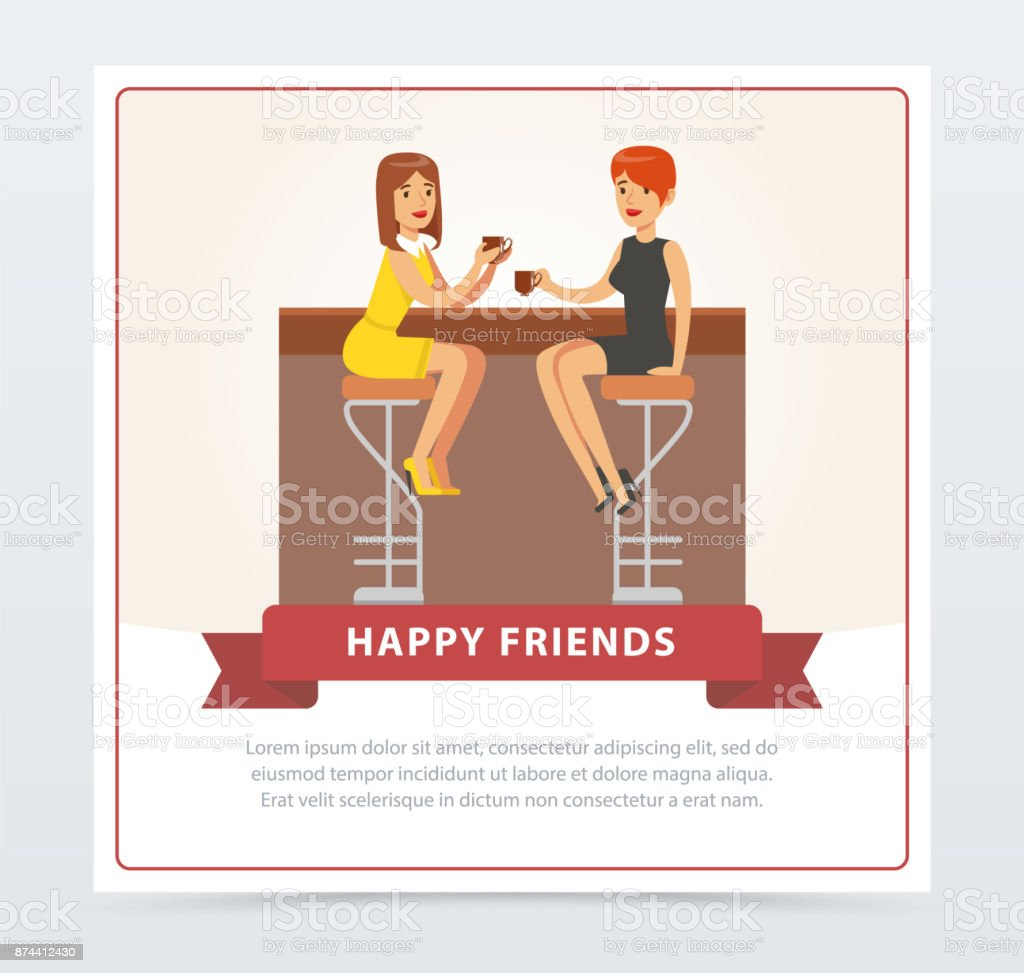 Two girlfriends drinking coffee n cafe, happy friends banner flat vector element for website or mobile app vector art illustration