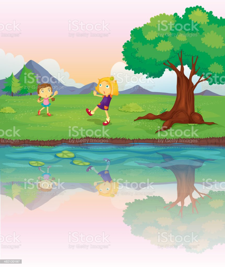 Two girls at the riverbank royalty-free stock vector art