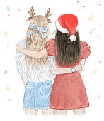 Two girls, best friends in Christmas. Hand drawn illustration.