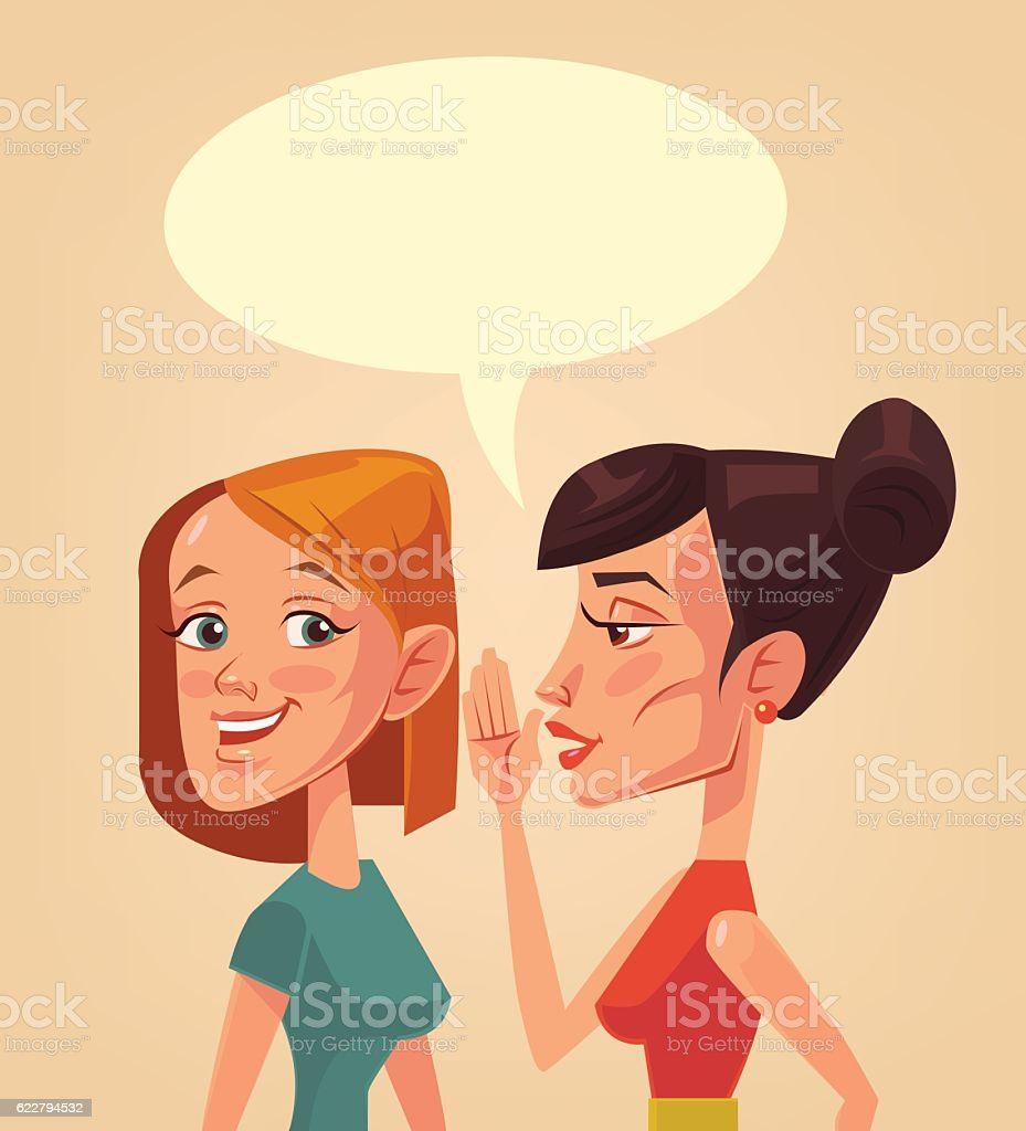 Two girls characters gossiping. Speech bubble vector art illustration