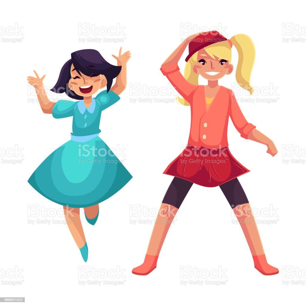 Zwei Mädchen Tanzen In Der Partei Blaues Kleid Rock Und Leggings ...