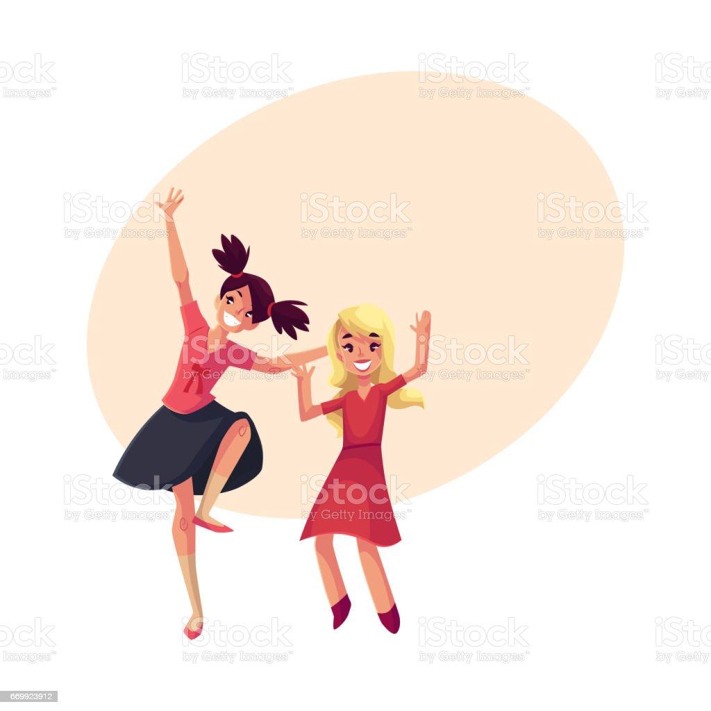Zwei Mädchen Tanzen In Der Partei Blaues Kleid Teenager Vorschüler ...