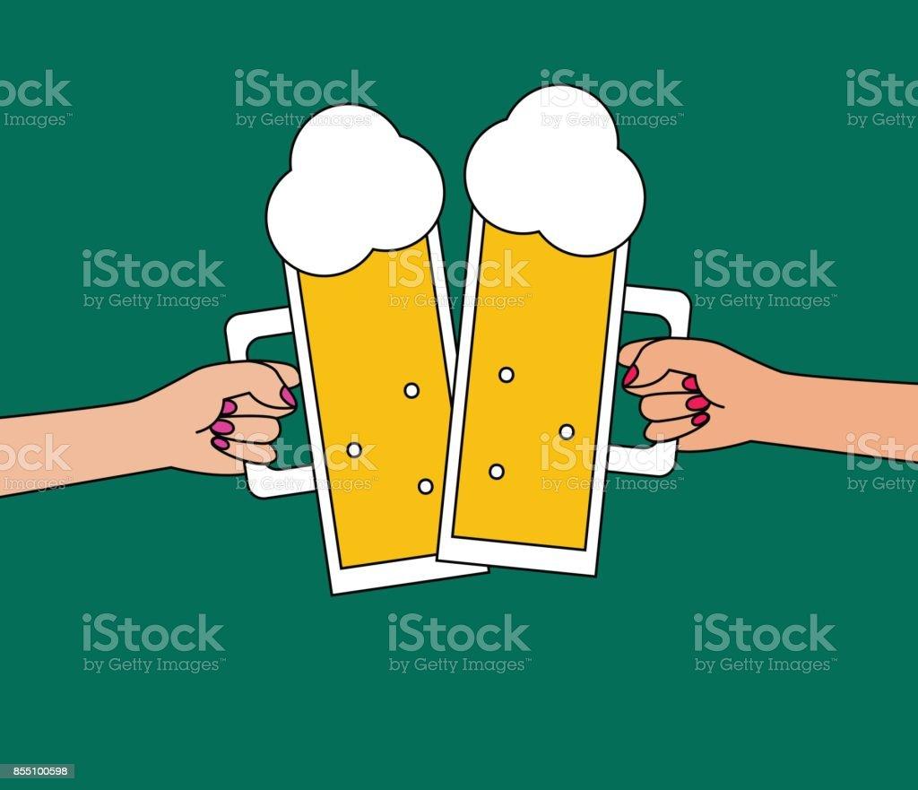 Deux jeunes filles, boire de la bière - Illustration vectorielle