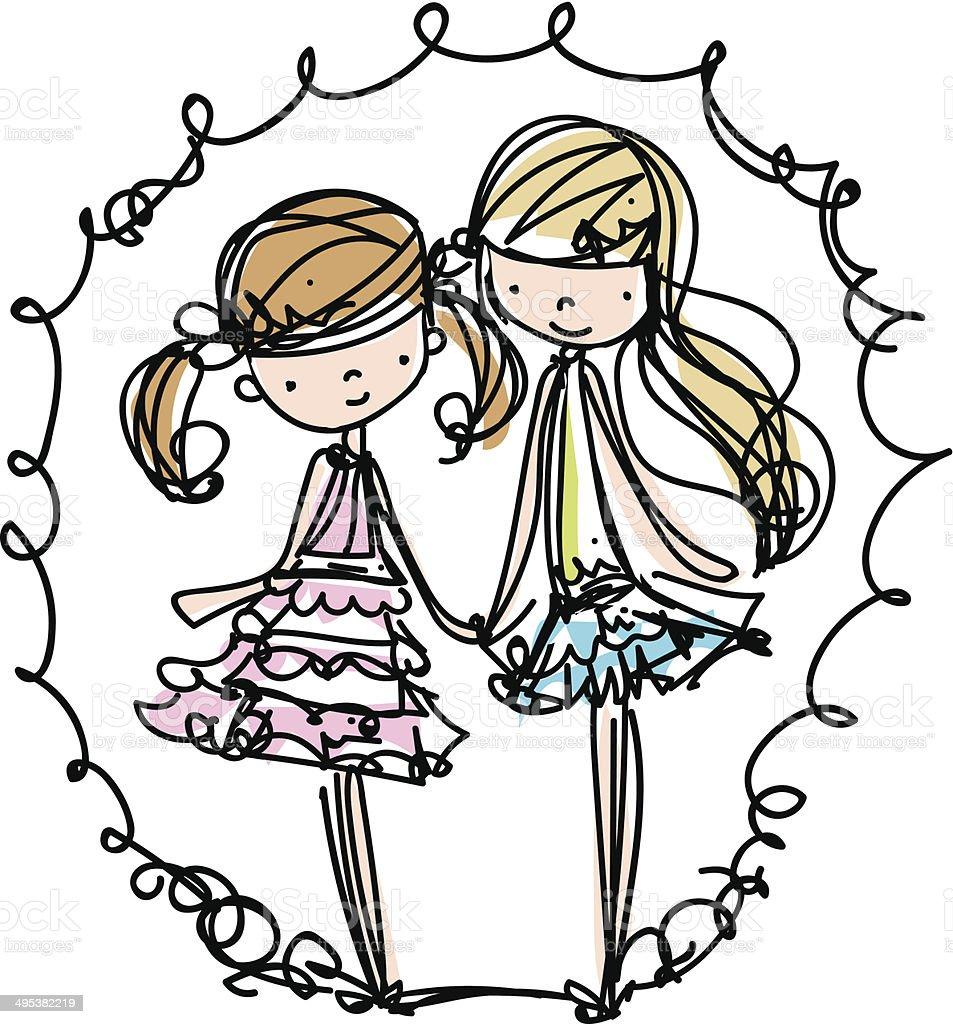 two girls fashion illustration cartoon look vector file - 免版稅不完整圖庫向量圖形
