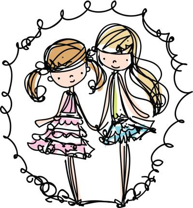 Two Girls Fashion Illustration Cartoon Look Vector File向量圖形及更多不完整圖片