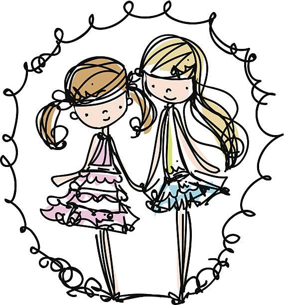 two girls fashion illustration cartoon look vector file向量藝術插圖