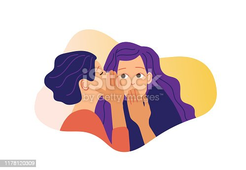 Two girls gossiping vector illustration. One excited girl whispers secret to girlfriend.