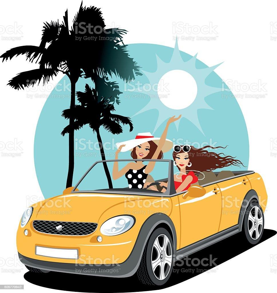 Deux filles dans une voiture en vacances - Illustration vectorielle